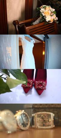婚戒婚纱婚鞋嫁衣豪表视频素材