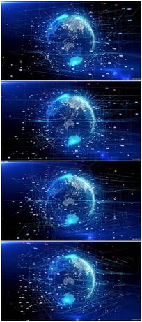 蓝色数字科技地球视频