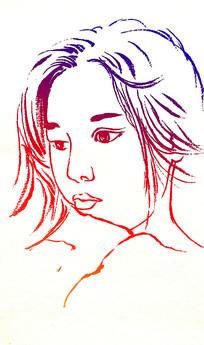 美女头像速写插画