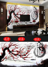 中国风工笔画水墨梅花背景墙