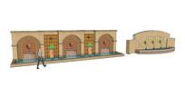 阿拉伯风棕色景墙SU模型