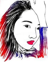 美女线描图插画