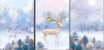 现代简约麋鹿北欧装饰画