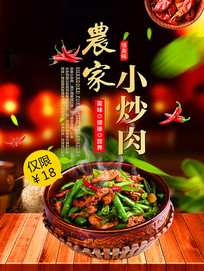 中国风湖南湘菜促销美食海报