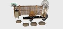 中式古典室外茶座景观小品