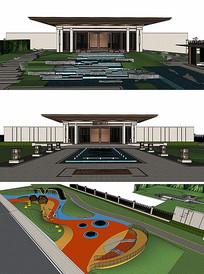 中式建筑跌水景观SU模型