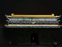 中式建筑屋檐灯光景观