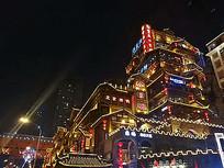 中式酒楼建筑亮化灯带景观