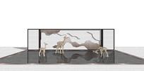中式木质鹿形状景墙SU