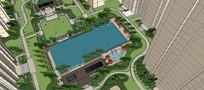 中式住宅区建筑景观泳池SU