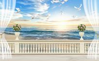 3D窗外海滩蓝天白云背景墙