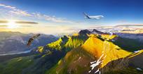 大自然山峰蓝天白云背景墙