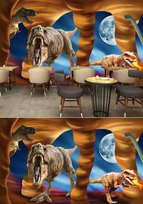 恐龙餐厅工装背景墙