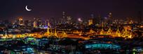 泰国唯美城市夜景背景墙