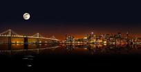 唯美城市建筑夜景背景墙