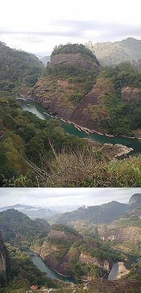 高山河流漂流竹筏