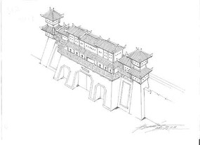 古代城墙建筑线稿