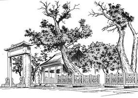 古代牌坊场景线稿