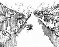 古风河流建筑线稿