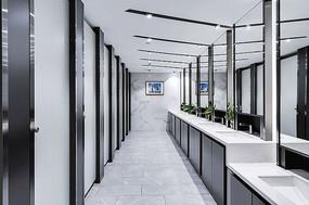 黑白简约公共卫生间设计 JPG