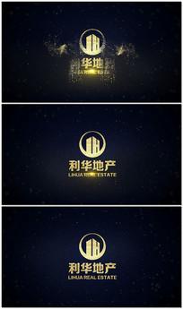 金色粒子房地产LOGO视频模板