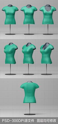 女士短袖T恤3D效果图