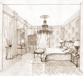 欧式室内住宅卧室手绘