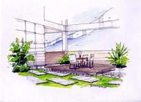 小庭院饮茶区手绘