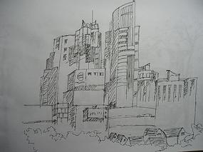 城市建筑钢笔画