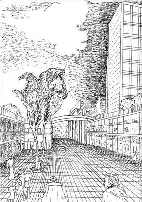 城市建筑广场钢笔画