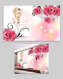 粉红玫瑰花背景墙设计