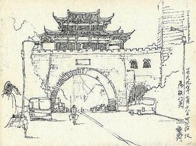 古代城墙建筑钢笔画手绘
