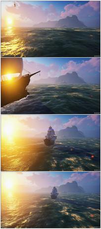 海上日出帆船航行视频