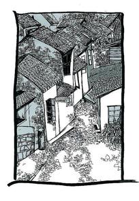漫画风格房屋群钢笔画