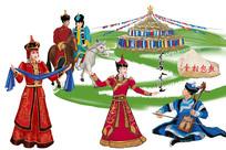 蒙古风情插画设计