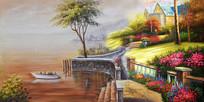 手绘欧式花园海景油画背景墙