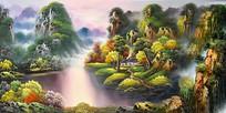 手绘乡村山水风景油画背景墙
