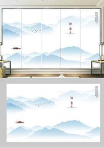 新中式水墨山水电视背景墙