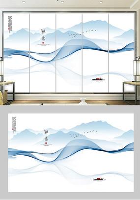 新中式禅意水墨山水画背景墙