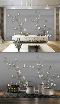 新中式玉兰花鸟电视背景墙