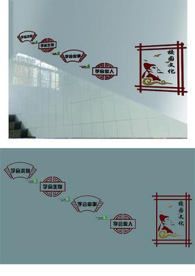 学校楼梯文化墙设计模版