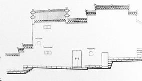 中国古代城墙线稿