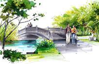 马克笔手绘景观桥
