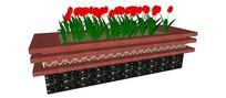 长方形郁金香花池SU模型