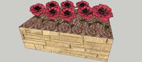 方形玫瑰花盆SU模型