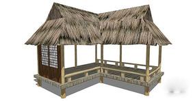 民族风茅草顶木屋