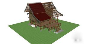 民族木屋设计模型
