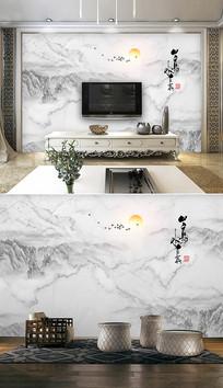 新中式水墨山水大理石纹背景墙