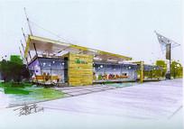 展示厅彩色建筑手绘