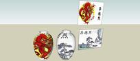 中式图文花瓶SU模型